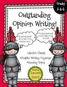"""This """"outstanding"""" free download includes: two anchor chart posters, an opinion writing graphic organizer and 40 unique opinion topics to get your students excited about opinion writing!"""