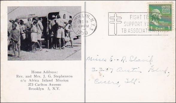 Home Address Rev And Mrs J G Stephenson C/O Africa inland Mission 373 Carlton Avenue Brooklyn New York City New York1950
