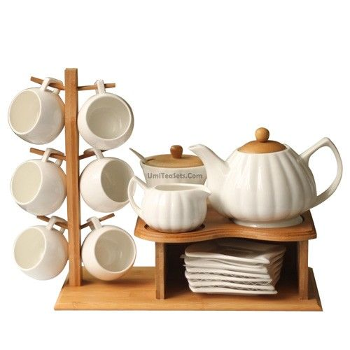 IKEA Bamboo Cup Holder White Ceramic Tea Set