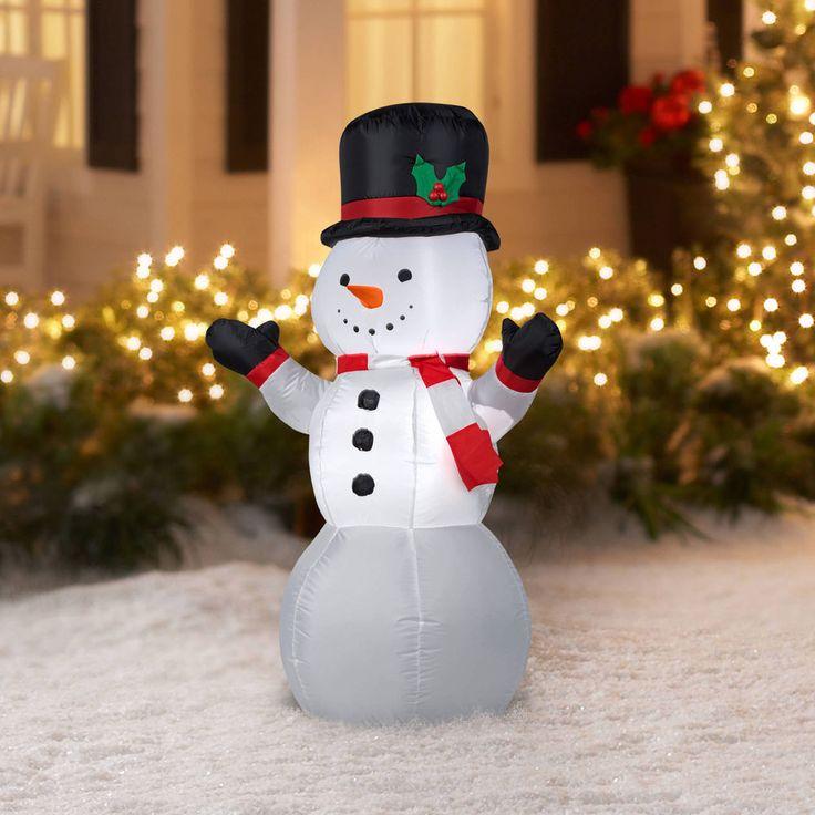 4 feet Prelit Snowman Airblown Inflatables Outdoor Merry