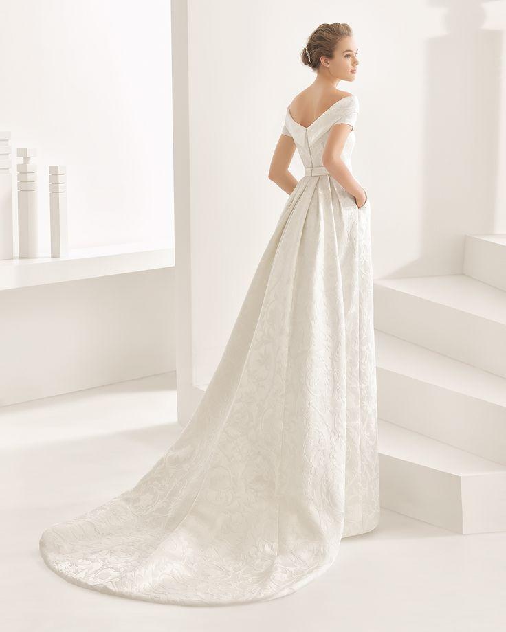 Nambia vestido y cola de raso duquesa / brocado fantasia / mikado de seda.