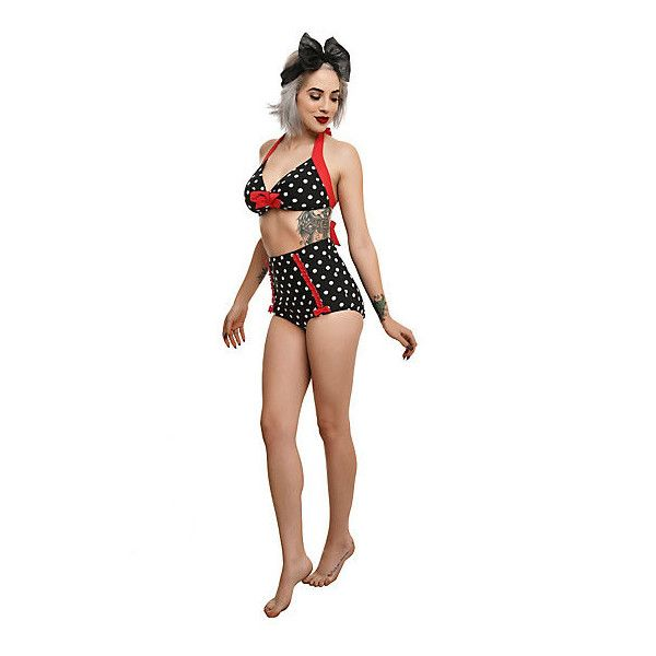 Hot Topic Too Fast Black White & Red Polka Dot Swim Top (24 CAD) ❤ liked on Polyvore featuring swimwear, bikinis, bikini tops, red bikini bottoms, red polka dot bikini, red swimwear, black and white bikini bottoms and red tankini top