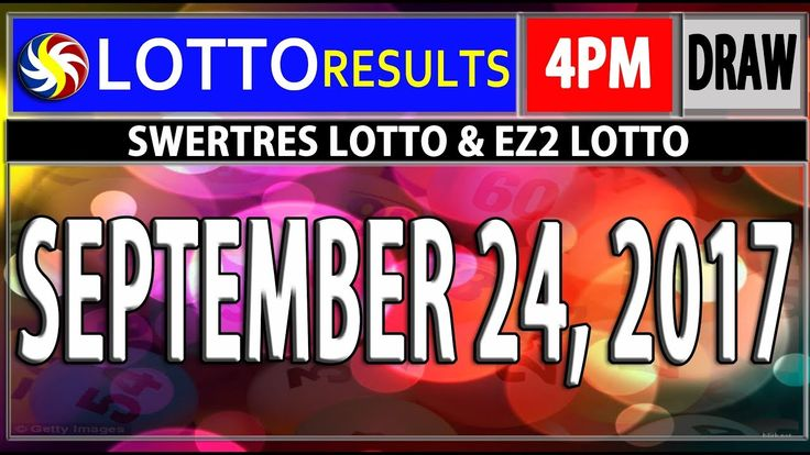 PCSO 4PM LOTTO RESULTS TODAY | SEPTEMBER 24, 2017 (SWERTRES & EZ2 LOTTO)