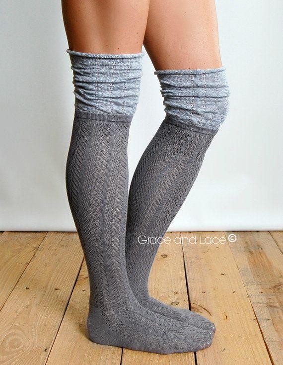 Slouch Top Boot Socks GREY boot socks open knit by GraceandLaceCo