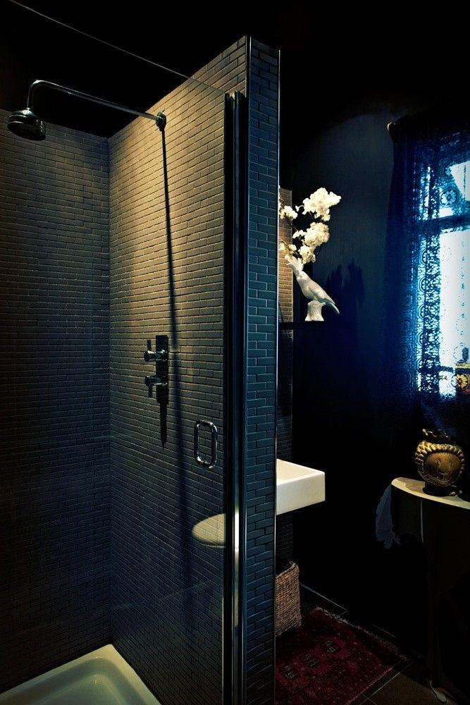 Black Bathroom   Remodelista - lighting bathrooms