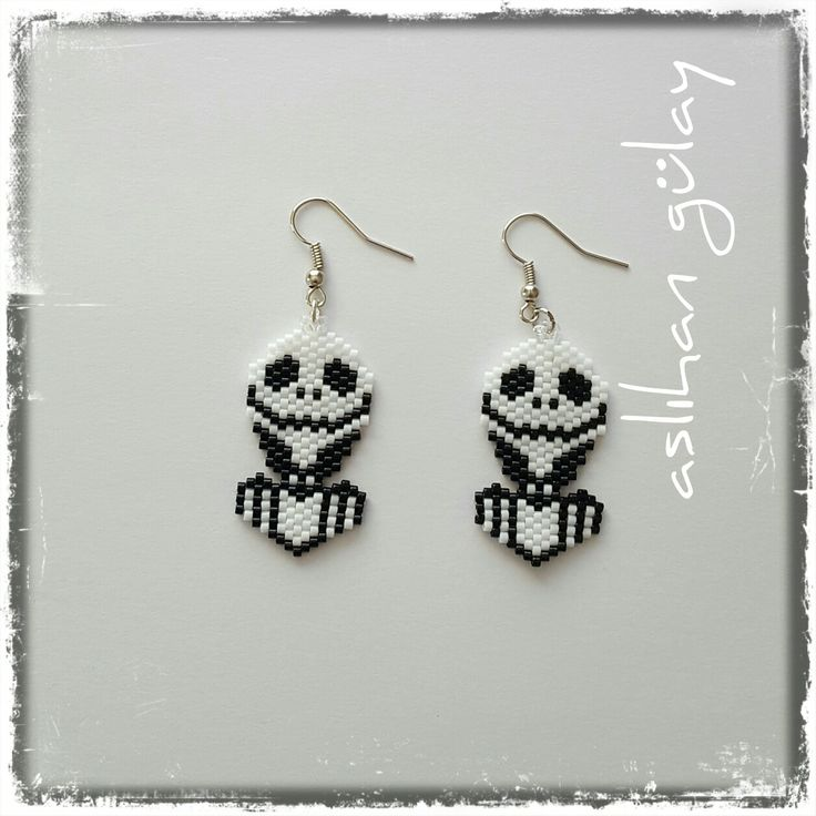 Jack Jack Skellington Brick Stitch Earrings