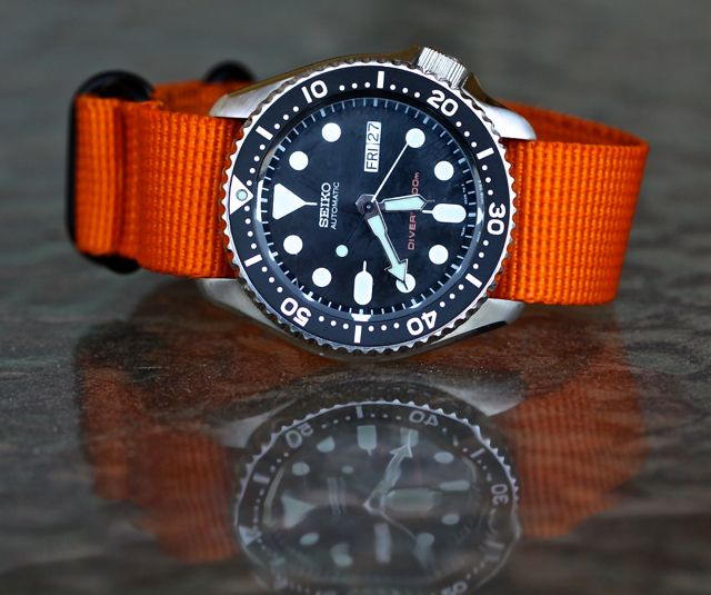 Seiko SKX007 + orange zulu