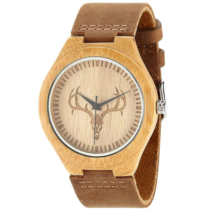 Wonbee Mens Bamboo Watch - a unique and stylish gift, this wooden watch with leather strap with deer motif would make a great gift #valentines day gifts ideas for him boyfriend