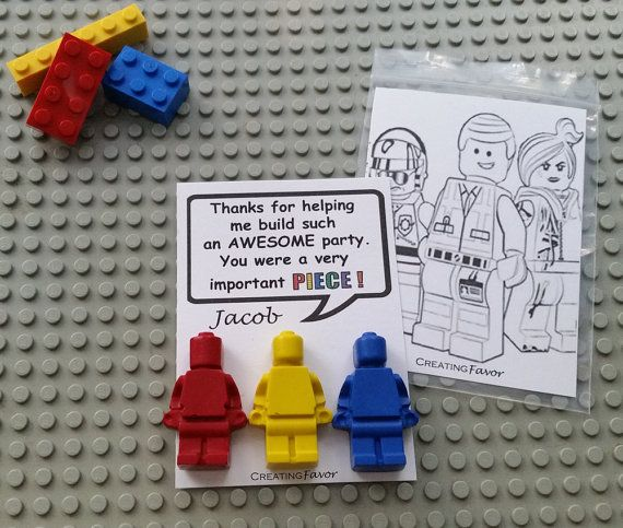 Lego Shaped Crayons - 18 packs of 3 Minifigures w/ Custom Thank You Cards - Personalized Kids Party Favors - Lego Party Supplies