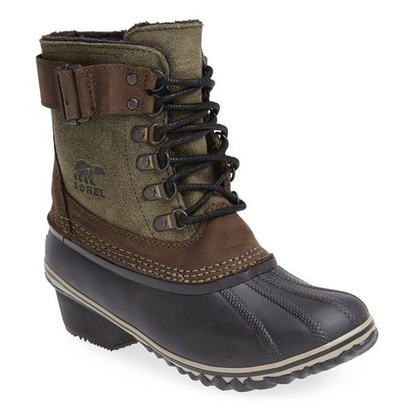 Women's Sorel 'Winter Fancy Ii' Waterproof Lace-Up Boot (9.780 RUB) ❤ liked on Polyvore featuring shoes, boots, ankle boots, peatmoss, dressy boots, duck boots, waterproof shoes and lined duck boots