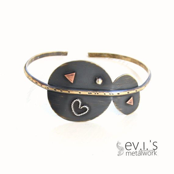 Mix Metal Round Oval Heart Bracelet Cuff Brass by evismetalwork, €32.00