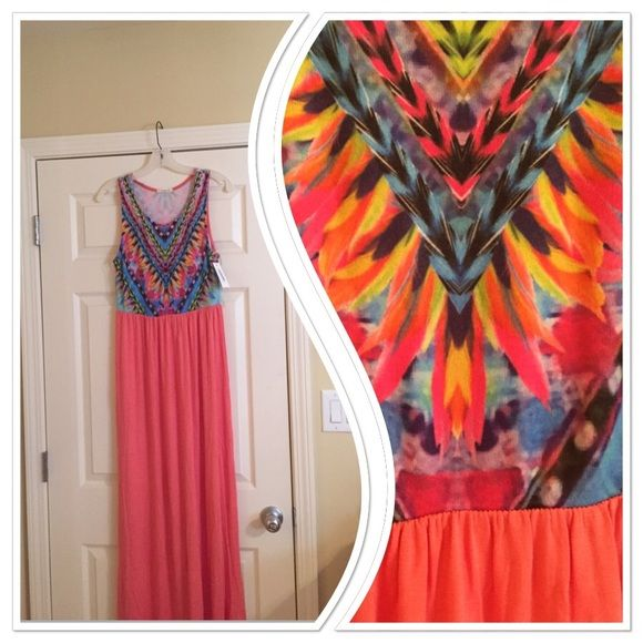 "Final Price!Neon maxi dress Sleeveless neon maxi.  Coral colored on bottom. Scoop neckline and gathered elastic waistline.  Unlined.                                          Length: 59"", Bust: 38"", Waist: 34"", Hips: 46"" Dresses Maxi"