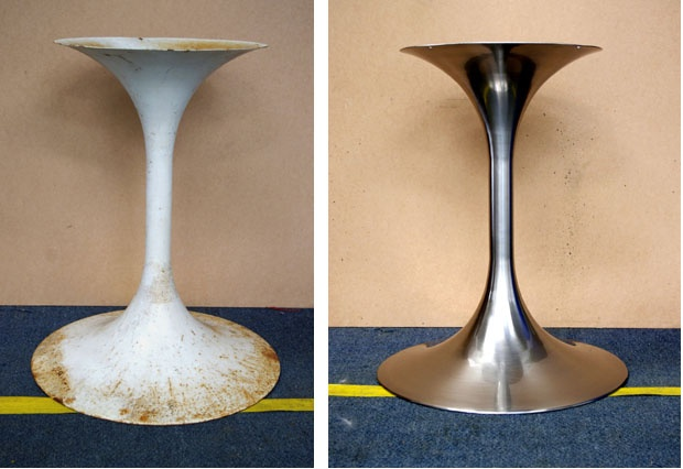 Roadside junk into something Saarinen would be proud of brushed Nickel + Gloss Lacquer by Astor Metal Finishes