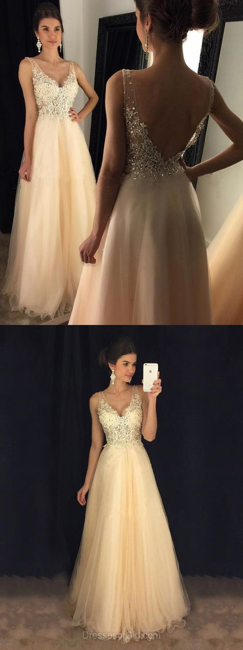 Glamorous A-line V-neck Tulle Floor-length Appliques Lace Backless Prom Dresses