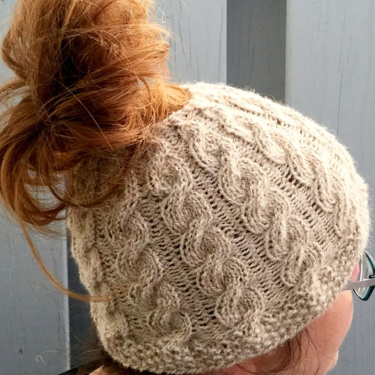 Knitting Pattern for Charlotte Cable Bun Beanie - Simpler than it looks, this pattern includes options for open and closed top beanies in sizes for children, teens, and adults. Perfect for ponytails or messy buns.