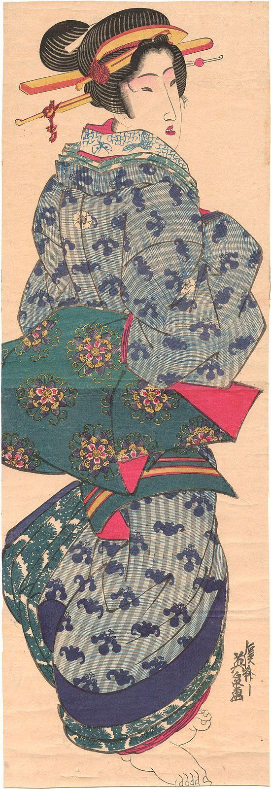 Eisen : Standing beauty wearing a bat/gourd patterned kimono 2h