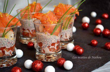 Verrines+de+gambas+au+saumon+fumé,+sauce+aux+oeufs+de+lompe