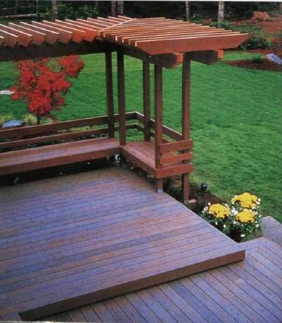 """TLC Home """"Deck Ideas: Craftsman Themes Fina a Home"""" - I like the separation of decks by changing the orientation of the planks."""