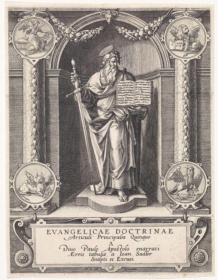 Johann Sadeler (I) | Apostel Paulus in een nis, Johann Sadeler (I), 1582 - 1585 | De apostel Paulus met een zwaard en een open boek, staande in een nis. In de vier hoeken medaillons met de symbolen van de vier evangelisten. De titelprent van een vijfdelige serie.