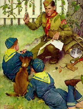 'The Adventure Trail' by Norman Rockwell (1952) – First class Scout shows 2 Cub Scouts an arrowhead near a tree.