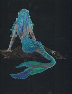 """New drawing for Etsy shop.....Mermaid, Prismacolor pencil on black paper 9""""x12"""". SOLD"""