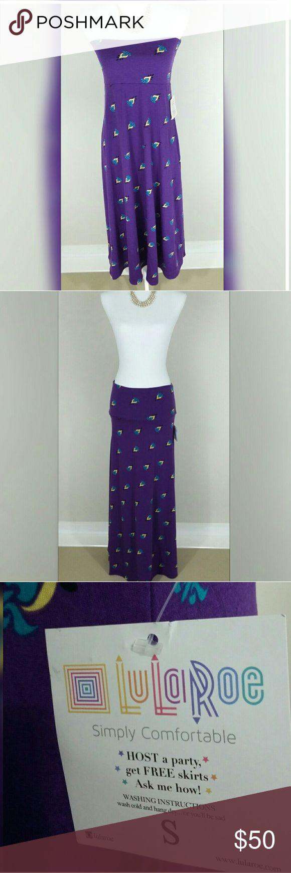 "LULAROE purple maxi skirt/dress NWT, 96% spun polyester, 4% spandex, 15"" flat waist, 42"" long, 53"" bottom wide. LuLaRoe Skirts Maxi"