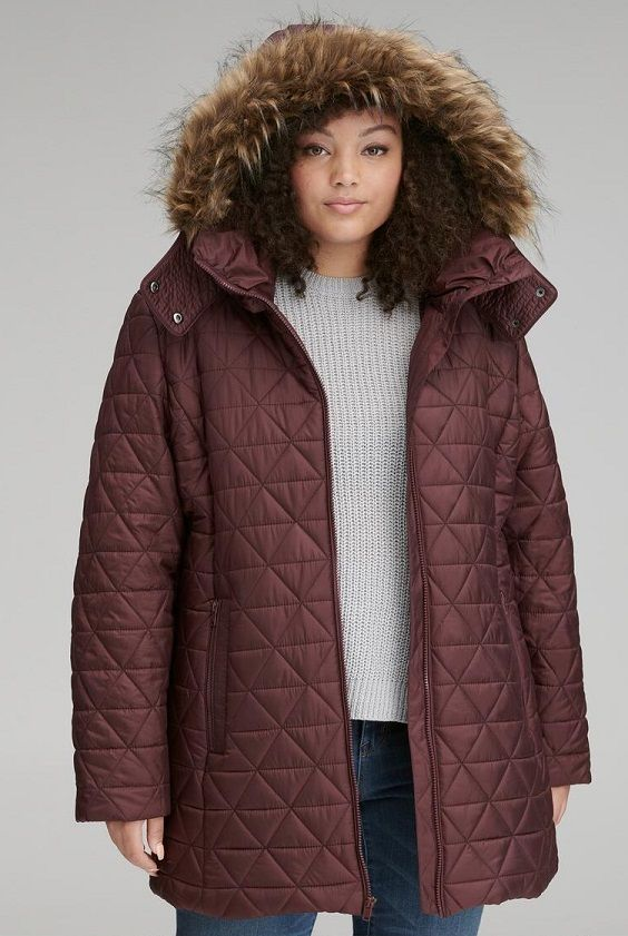 a9685fc8ffb Burgundy Plus Size Women s Winter Coat - This burgundy winter coat featuring  a pyramid quilting pattern