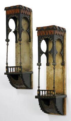 CARLO BUGATTI hanging shelves, c. 1900, walnut, ebonized walnut, copper, metal, ivory, parchment, 63 x 15.5 x 16.5 cm