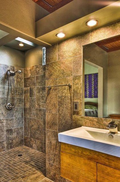 wall-less showers tropical bathroom by 2D3D Design, INC ...
