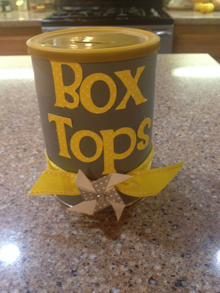 Another altered coffee container turned box top container, yellow and grey classroom