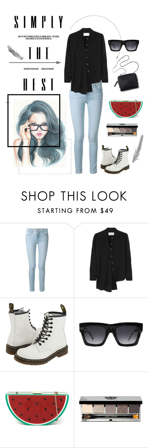 """""""Simply The Best"""" by freisstea on Polyvore featuring Frame Denim, Maison Margiela, Dr. Martens, CÉLINE and Bobbi Brown Cosmetics"""