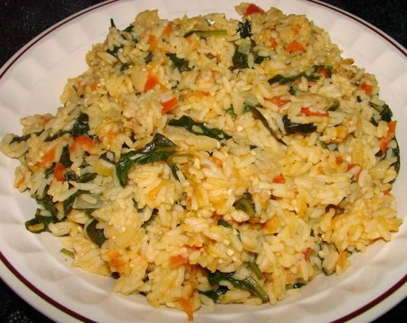 Buttered Spinach and Rice. I love this. I usually add about a teaspoon of cayenne pepper or serve with hot sauce and add peeled/deveined shrimp in the last 5 minutes.