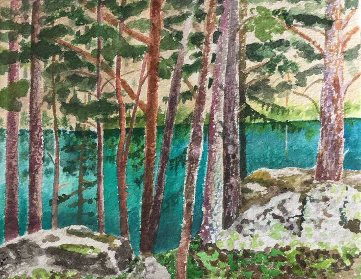 Lago di Lessert, watercolor by Sanneke Griepink, 2016
