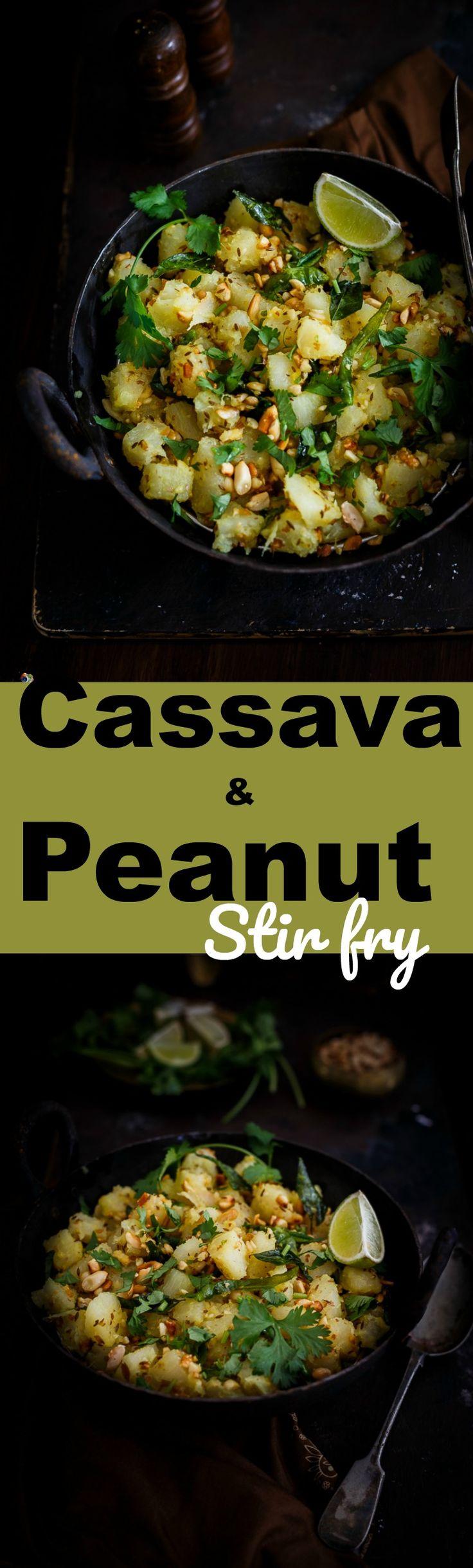 Cassava & Peanut Stir fry-Mogo and peanut bhaji-Vrat ka khana