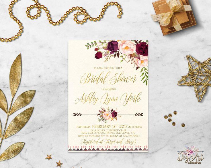 Burgundy Gold Bridal Shower Invitation Printable Boho Bridal Shower Invite Marsala Blush Bridal Shower Peony Floral Bridal Shower Digital by DigartDesigns on Etsy