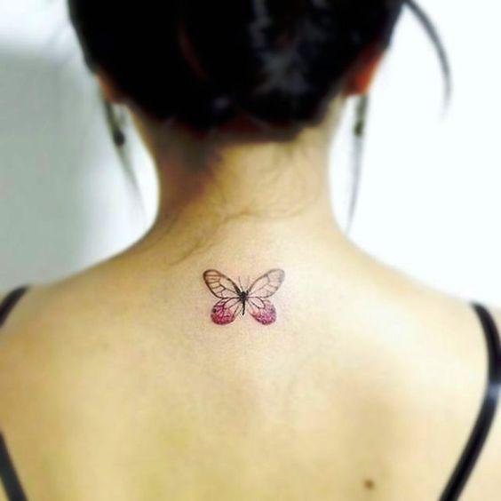 Little Purple Butterfly Design - http://www.tattooideas1.org/placement/neck/little-purple-butterfly-design/