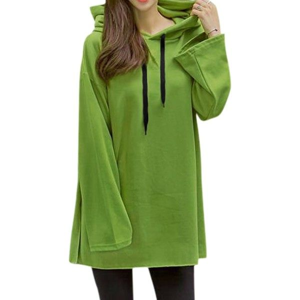 uxcell Women Long Sleeves Split Sides Drawstring Hooded Tunic Top... (19 AUD) ❤ liked on Polyvore featuring tops, tunics, green top, green long sleeve top, green tunic, long sleeve tunic and long sleeve tops