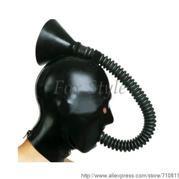 new arrival rubber gummi mask latex hood devil training cos funnel SM latex headgear Hot Sale Adult products SEXY CLUB