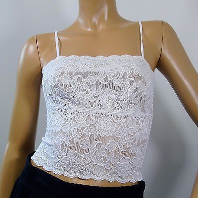 Hanky-Panky-Camisole-Top-White-Lace-Cropped-Lined-Spaghetti-Straps-Size-Small
