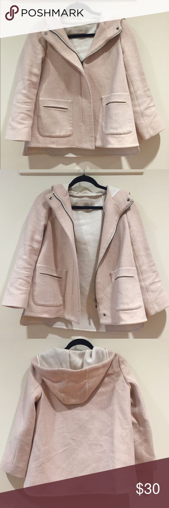🌟 || Light Pink Zara Jacket short light pink jacket from zara. hood, two front pockets, full front zip with top and bottom snap button, wool/polyamide/acrylic exterior, lined. Zara Jackets & Coats