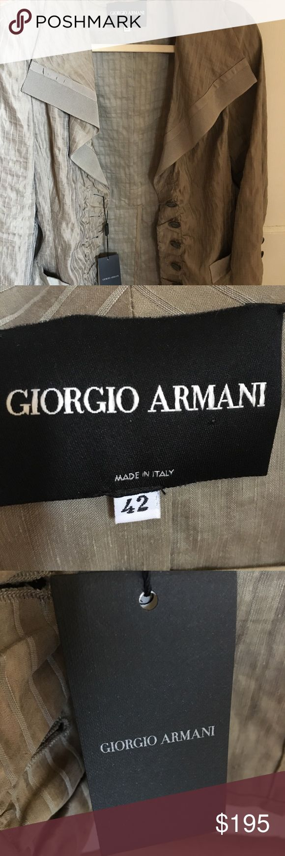 Armani Jacket Army green colored Armani jacket. Brand new with tags. In excellent condition. Beautiful details with mother of pearl buttons. Could be dressed up or dressed down with jeans and boots. Super cute jacket! Enjoy! Giorgio Armani Jackets & Coats Blazers