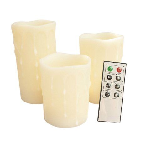 Best Candle Choice Set Of 3 Remote Control Wax Pillar Led 640 x 480