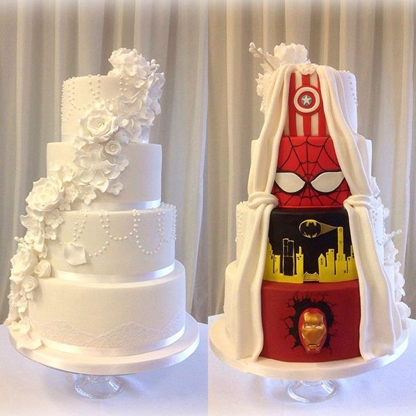 "Are you and your groom being pulled in diametrically opposing directions? This jaw-dropping ""superhero in disguise"" cake proves you can have the best of both worlds."