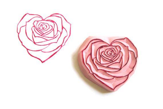 Herz Rose Hand geschnitzte Stempel unmontiert von WereSowinLove