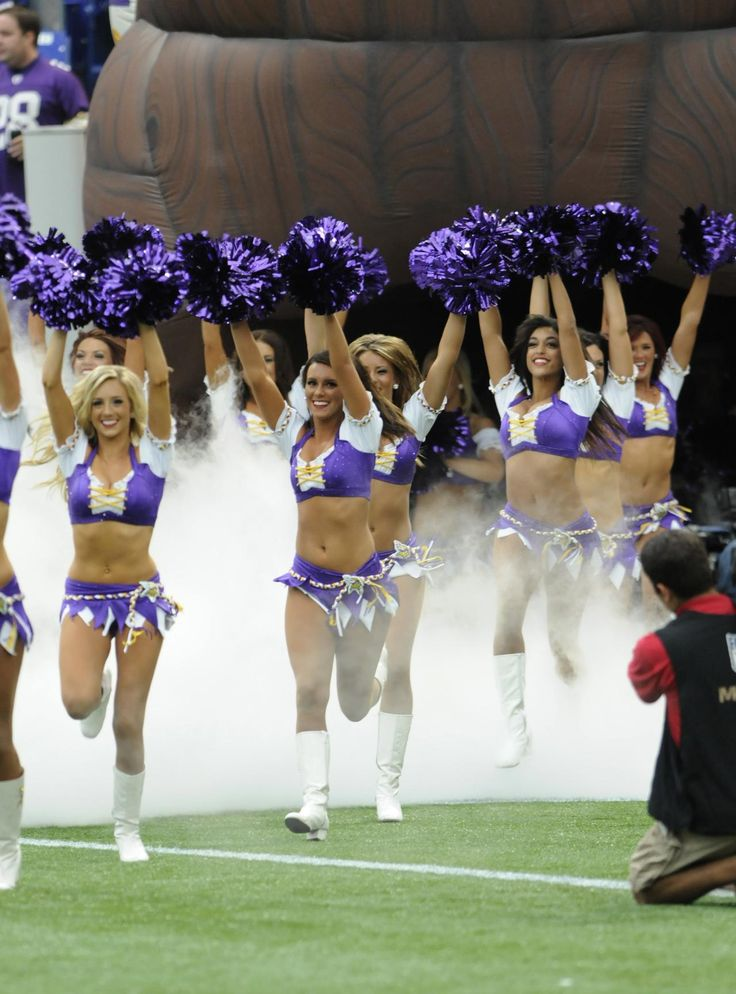 Minnesota Vikings Cheerleaders running on the field week 1 of the 2012 NFL season