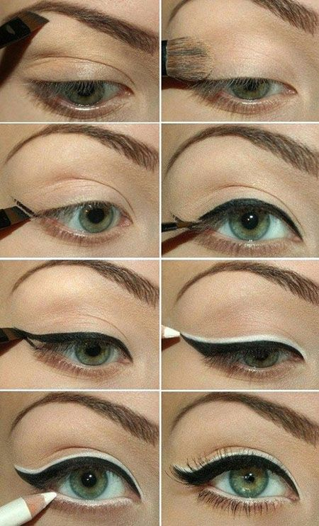 Really love the dual eyeliner here. Great idea, to layer the white on top of the black, because it would help 'forgive' an unsteady hand, and not look so harsh.