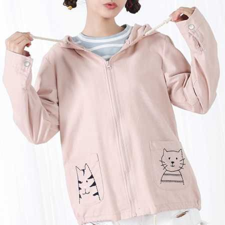 Cat embroidered hoodie for teenage girls pink zip up coat