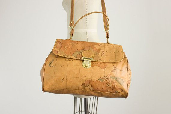 80s Vintage Gitano Map Messenger Extra Large Tote Bag by decades