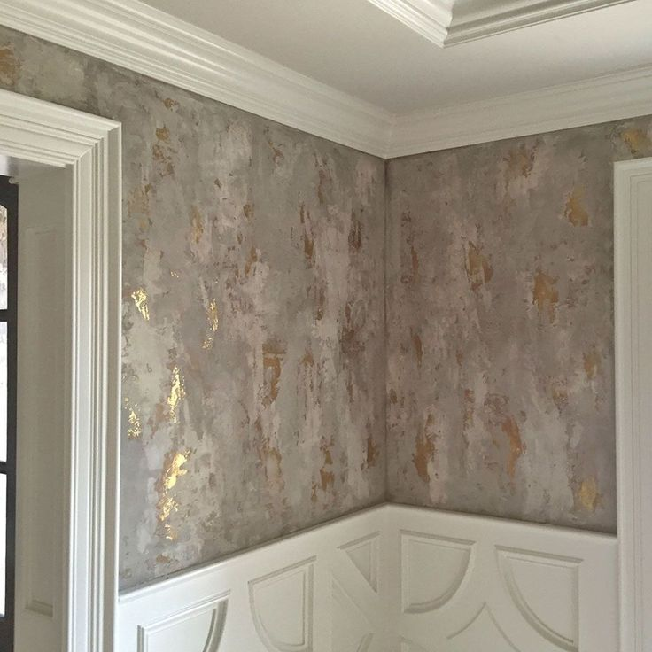Dining room wall finish with several custom tinted Modern Masters Venetian Plaster hues troweled over bronze foil. It was then glazed with a dark brown. | Designer: Amy Wagner | Decorative Artistry by Linda Gale Boyles of Southern Inspirations