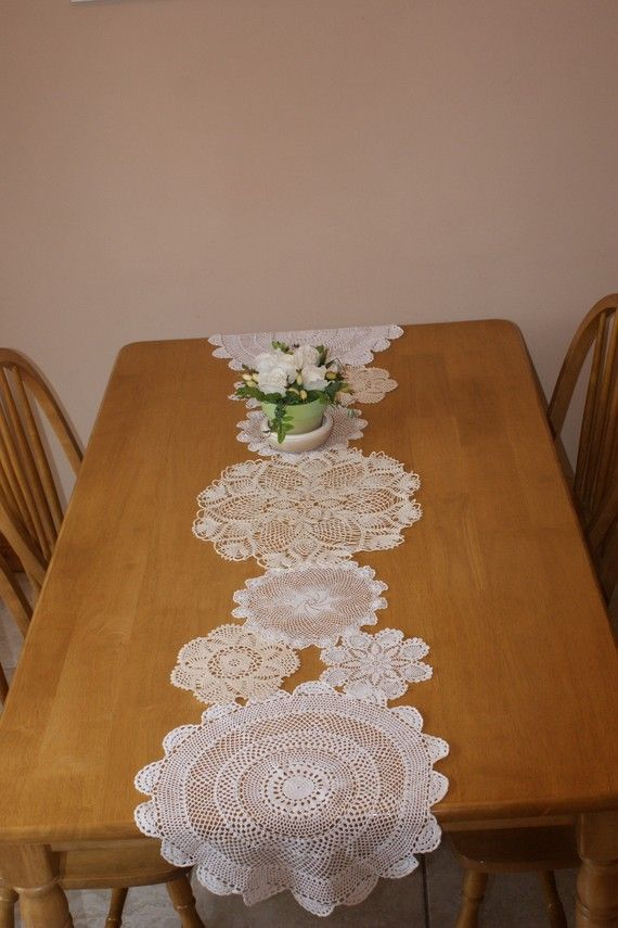 Items similar to Custom made Doily runner on Etsy